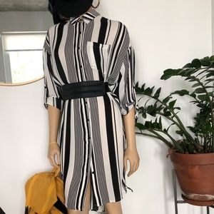 Dresses & Skirts - COOL BLACK/WHITE STRIPED SHIRTDRESS, NEVER WORN.